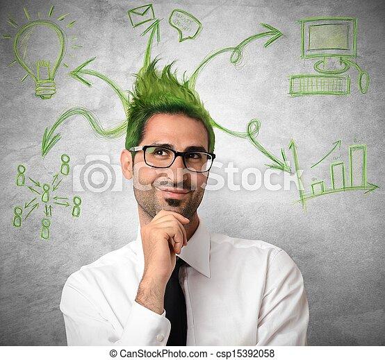 ビジネスマン, 考え, 創造的 - csp15392058