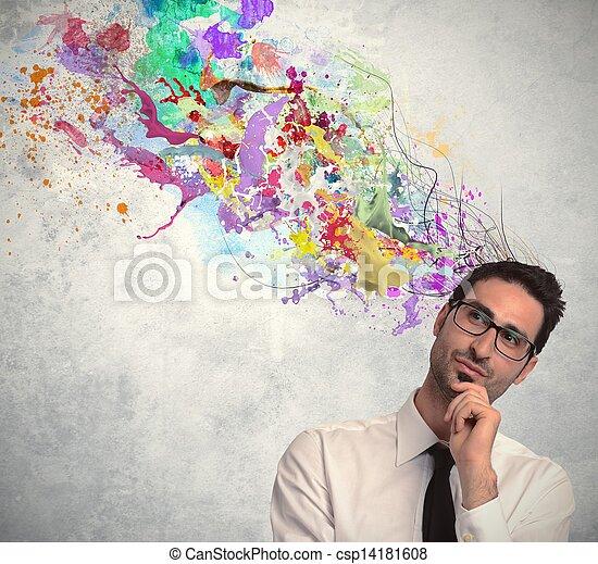 ビジネスマン, 考え, 創造的 - csp14181608