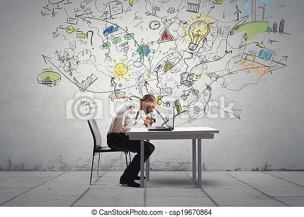 ビジネスマン, 考え, 新しい - csp19670864