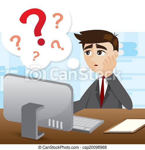ビジネスマン, 質問, 漫画, 印 - csp20098968