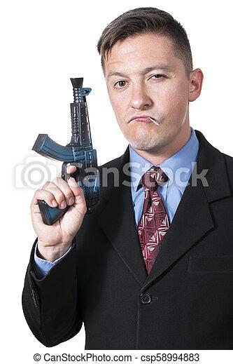 ビジネスマン, 銃 - csp58994883
