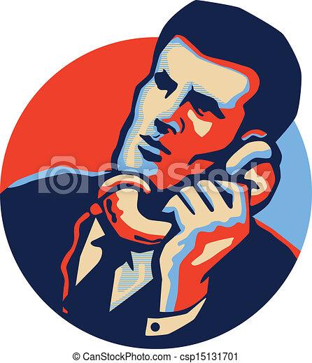 ビジネスマン, 電話, 話, レトロ - csp15131701