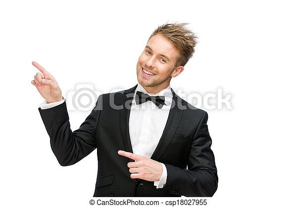 ビジネス男, 指すこと, ジェスチャー, 手 - csp18027955
