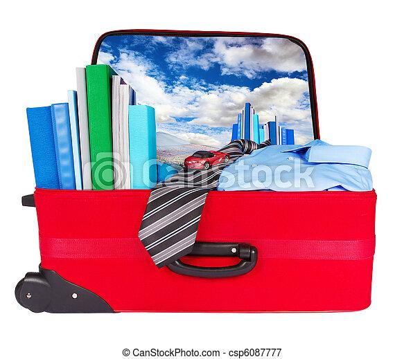 ビジネス青, 旅行, スーツケース, パックされた, 旅行 - csp6087777