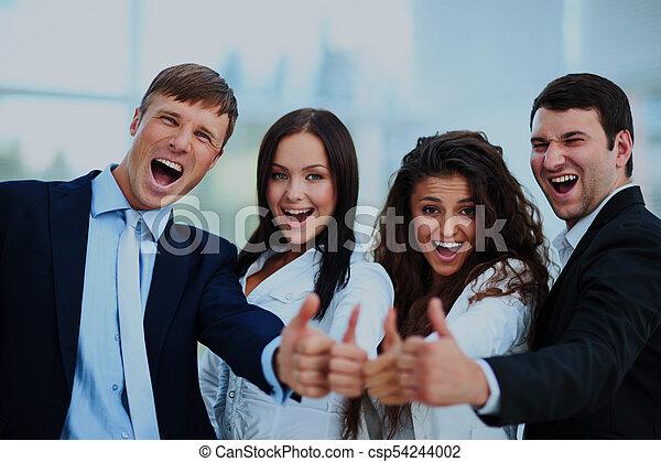 ビジネス, オフィス。, の上, 親指, チーム, 幸せ - csp54244002