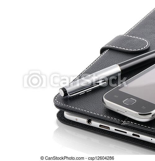 ビジネス, タブレット, モビール, concept., pc, ペン, 電話 - csp12604286