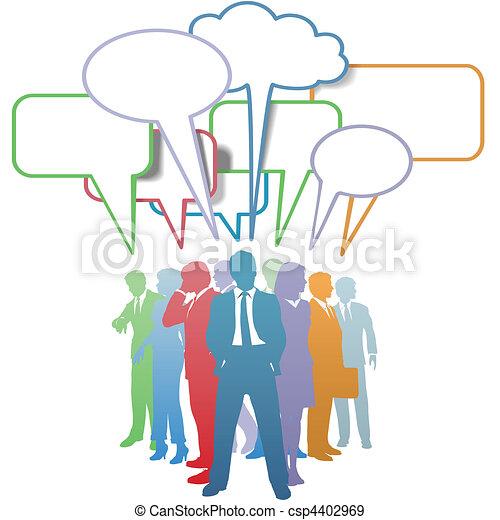 ビジネス 人々, コミュニケーション, 色, スピーチ泡 - csp4402969