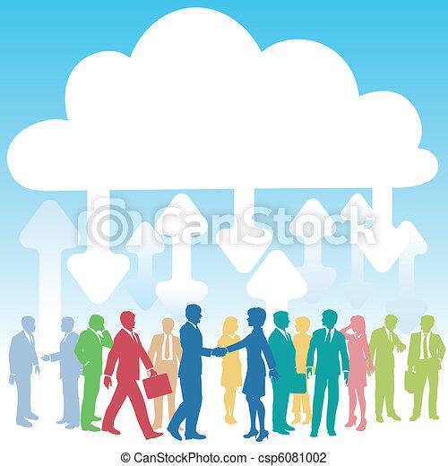 ビジネス 人々, 会社, 計算, それ, 雲 - csp6081002