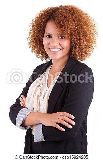 ビジネス 人々, -, 隔離された, 若い, アメリカ人, 黒い背景, アフリカ 女, 肖像画, 白 - csp15924205