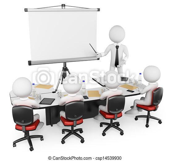ビジネス, 人々。, 3d, ワークショップ, 白 - csp14539930