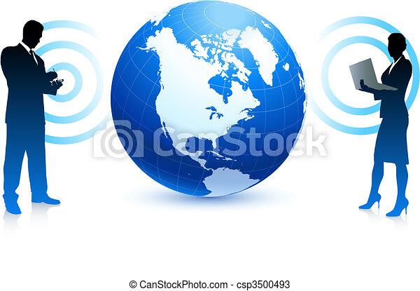 ビジネス, 地球, インターネット, 無線, 背景, チーム - csp3500493