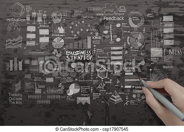 ビジネス, 手ざわり, 手, 作戦, 背景, 創造的, 図画 - csp17907545