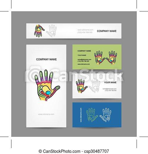 ビジネス, 手, reflexology, デザイン, カード, マッサージ - csp30487707