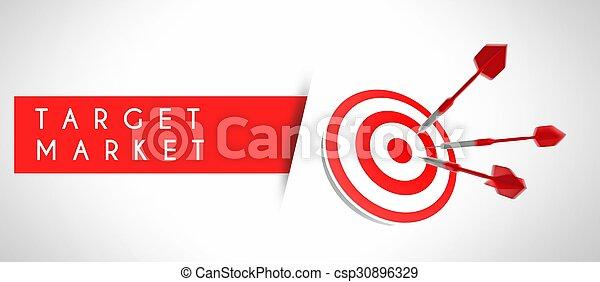 ビジネス 概念, 市場, ターゲット, 成功 - csp30896329