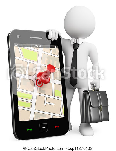 ビジネス, 移動式 電話, 人々。, gps, 3d, 白 - csp11270402