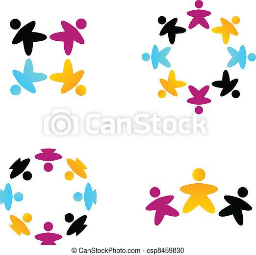 ビジネス, 隔離された, チーム, 協力, multicultural, 白 - csp8459830