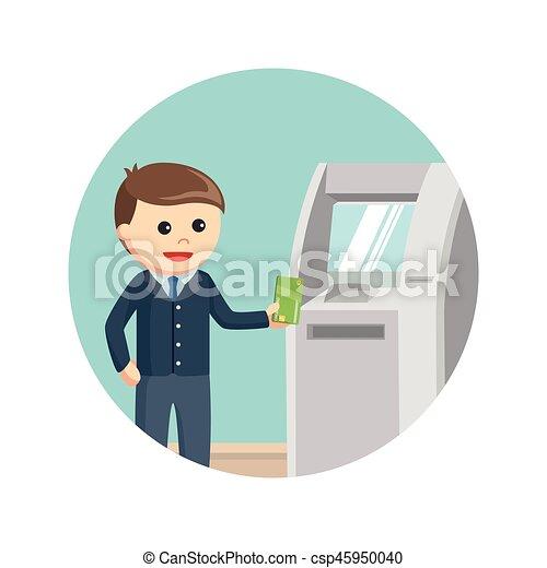 ビジネス, atmマシン, 背景, 使うこと, 円, 人 - csp45950040