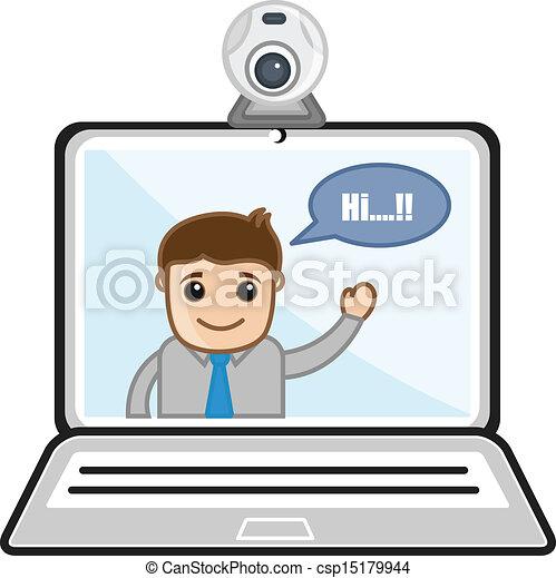ビデオ, -, 談笑する, ビジネス 漫画 - csp15179944