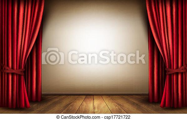 ビロード, illustration., 木製である, floor., ベクトル, 背景, カーテン, 赤 - csp17721722