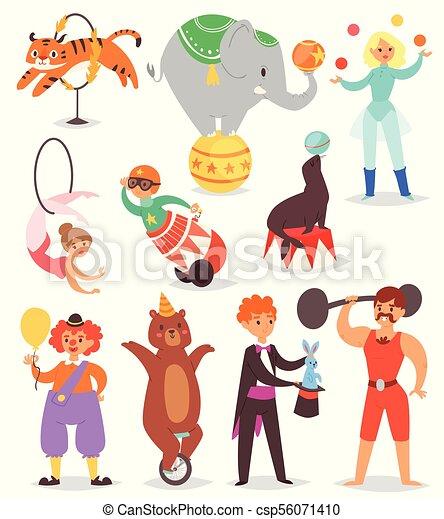 ピエロ Circus Tent セット 動物 背景の 人々 特徴 サーカス