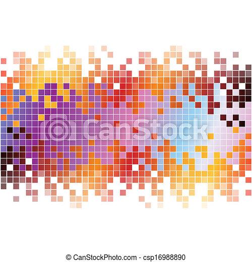 ピクセル, 抽象的, 背景, カラフルである, デジタル - csp16988890