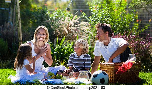 ピクニック, 太陽, 楽しむ, 家族, 幸せ - csp2021183