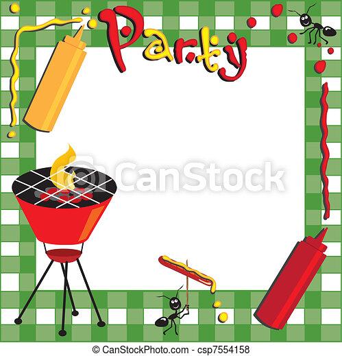 ピクニック, bbq, 招待 - csp7554158