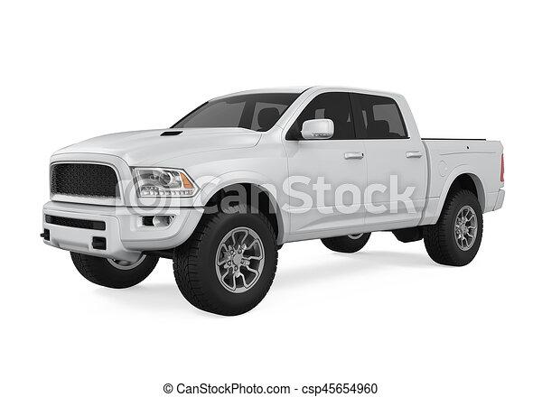 ピックアップ トラック, 銀, 隔離された - csp45654960