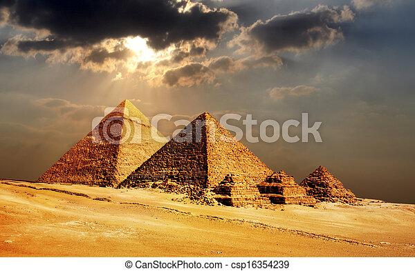 ピラミッド, エジプト, カイロ, ギザ - csp16354239