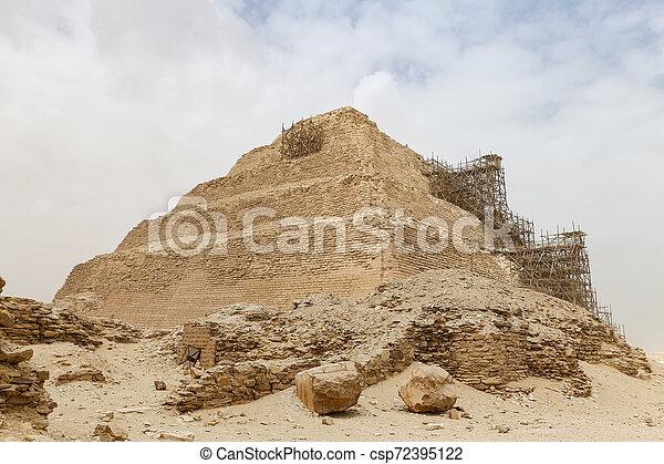 ピラミッド, エジプト, カイロ, ステップ, necropolis, saqqara - csp72395122