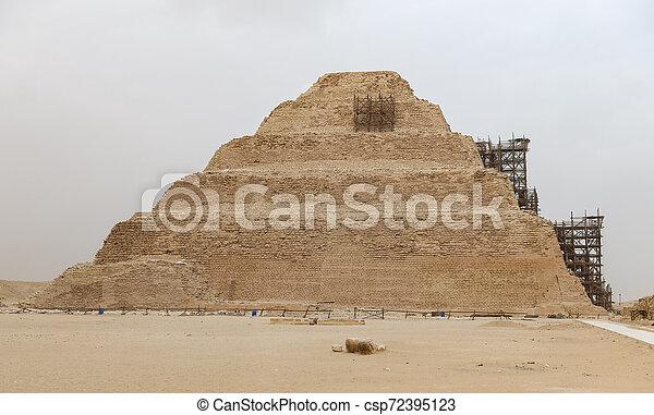 ピラミッド, エジプト, カイロ, ステップ, necropolis, saqqara - csp72395123