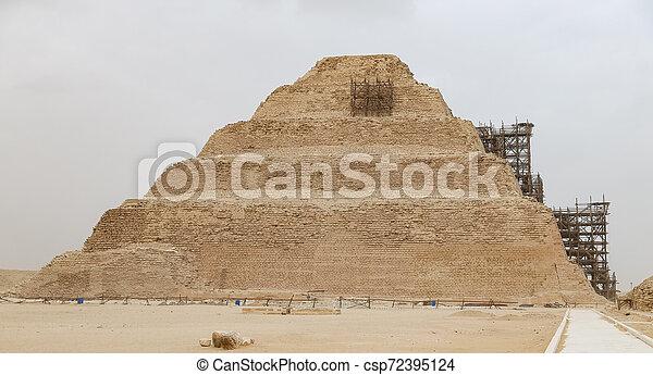 ピラミッド, エジプト, カイロ, ステップ, necropolis, saqqara - csp72395124