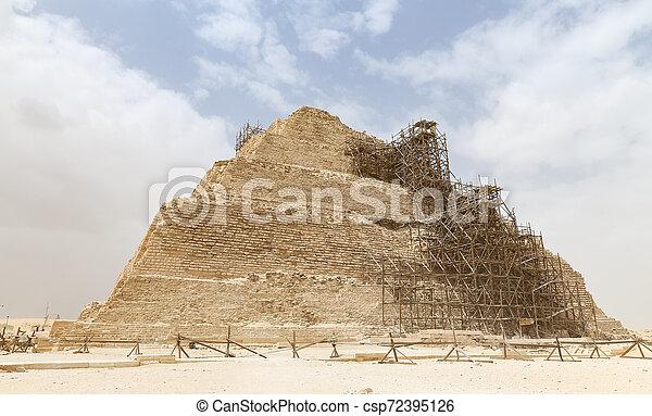 ピラミッド, エジプト, カイロ, ステップ, necropolis, saqqara - csp72395126