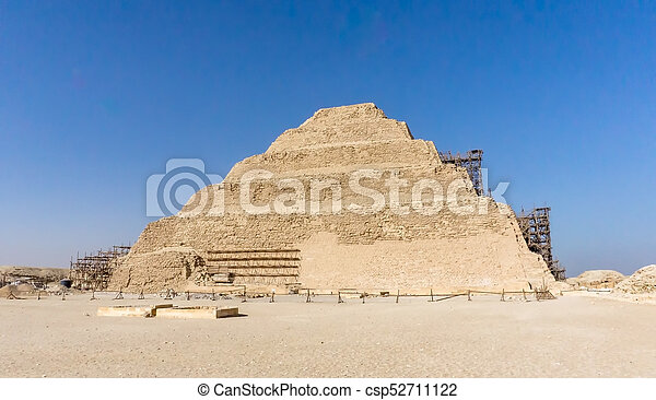 ピラミッド, エジプト, 考古学的, ステップ, djoser, saqqara, remain, necropolis, saqqara - csp52711122