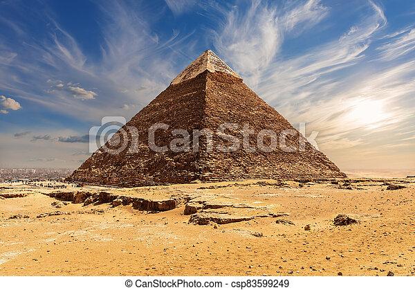 ピラミッド, エジプト, necropolis, chephren, 有名, ギザ, khafre - csp83599249