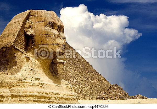 ピラミッド, スフィンクス, エジプト人 - csp4470226