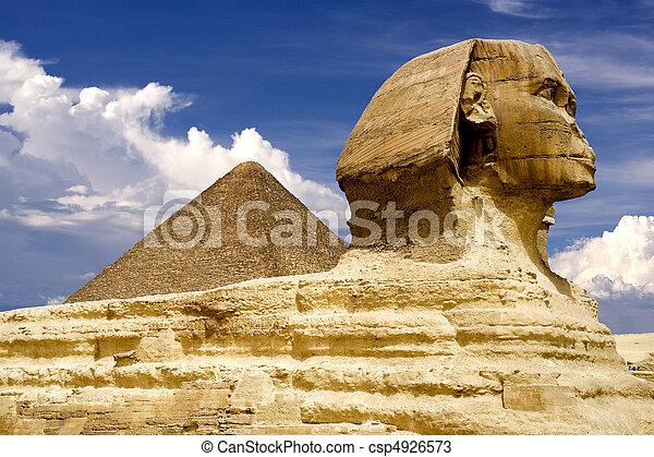 ピラミッド, スフィンクス, エジプト人 - csp4926573