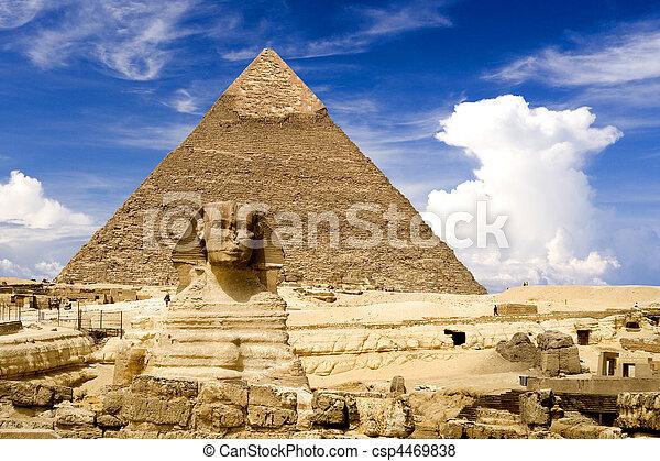 ピラミッド, スフィンクス, エジプト人 - csp4469838