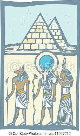 ピラミッド, 象形文字 - csp11027212