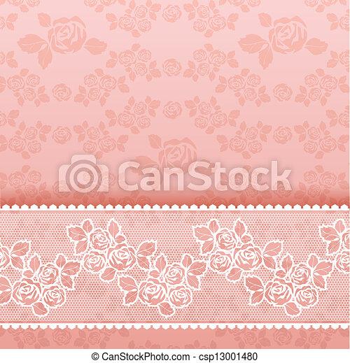 ピンクのバラ, 広場, レース, 背景 - csp13001480