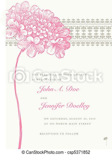ピンクの花, フレーム, ベクトル, 背景, 結婚式 - csp5371852