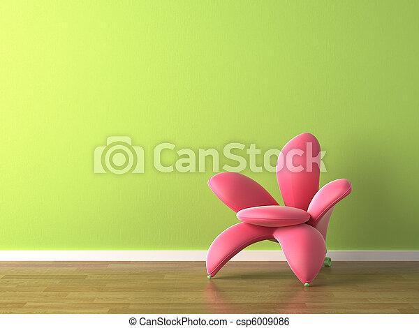 ピンクの花, 形づくられた, 肘掛け椅子, デザイン, 内部, 緑 - csp6009086