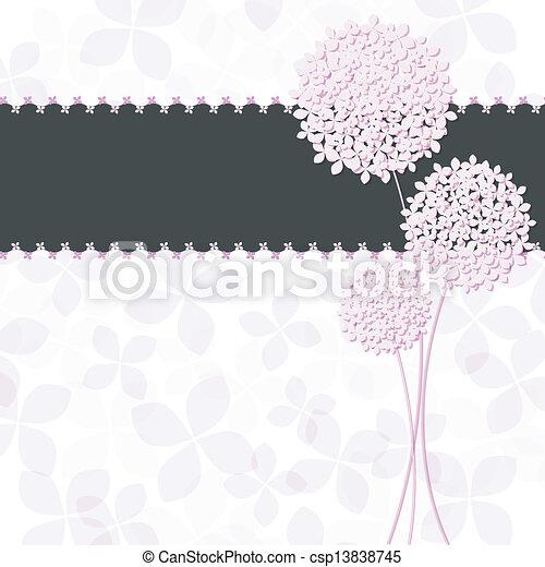 ピンクの花, 紫色, アジサイ, 挨拶, 春, カード - csp13838745