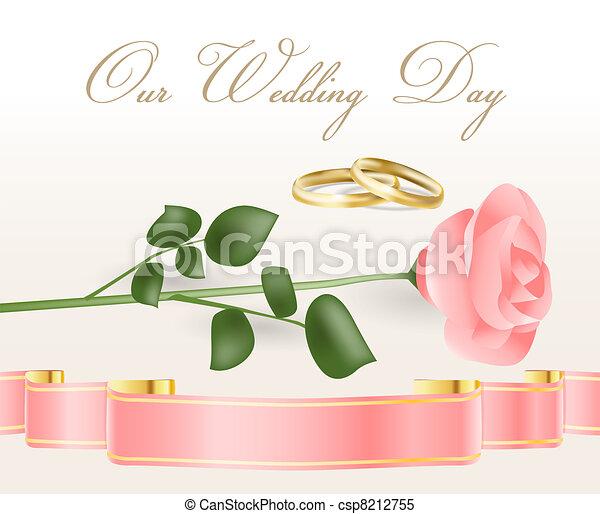 ピンクは 上がった, リング, 結婚式 - csp8212755