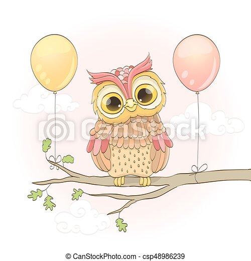 ピンク かわいい フクロウ 上に 空 イラスト Clouds ベクトル ブランチ 風船 漫画