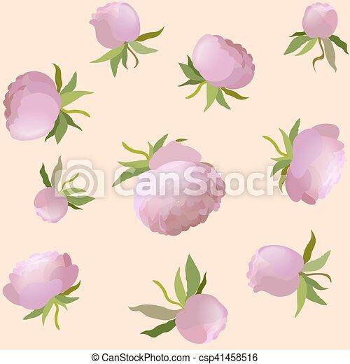 ピンク かわいい 花 シャクヤク Pattern Seamless イラスト