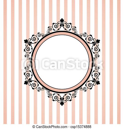 ピンク, しまのある, ベクトル, フレーム - csp15374888