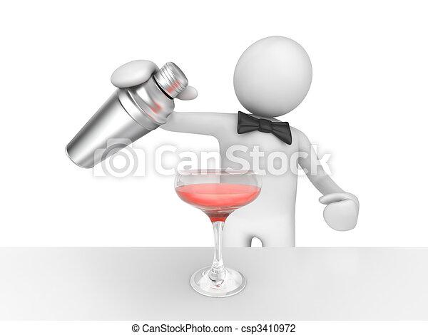 ピンク, たたきつける, barman, あなたの, カクテル - csp3410972