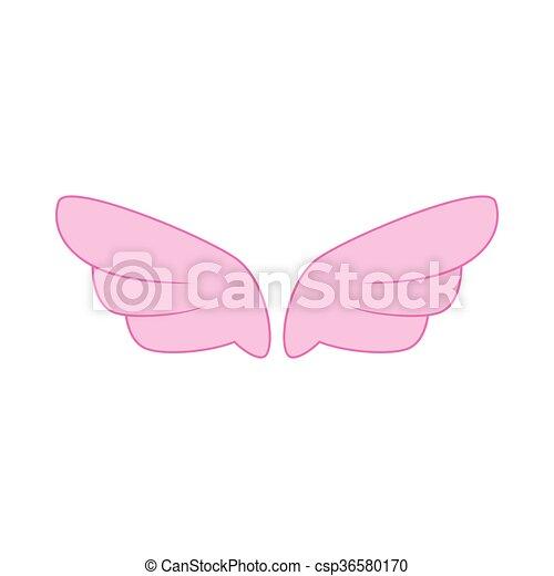 ピンク, スタイル, 単純である, アイコン, 対, 翼 - csp36580170