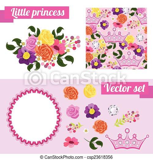 ピンク, セット, 花, フレーム, 集めなさい, 要素, princess., crown. - csp23618356